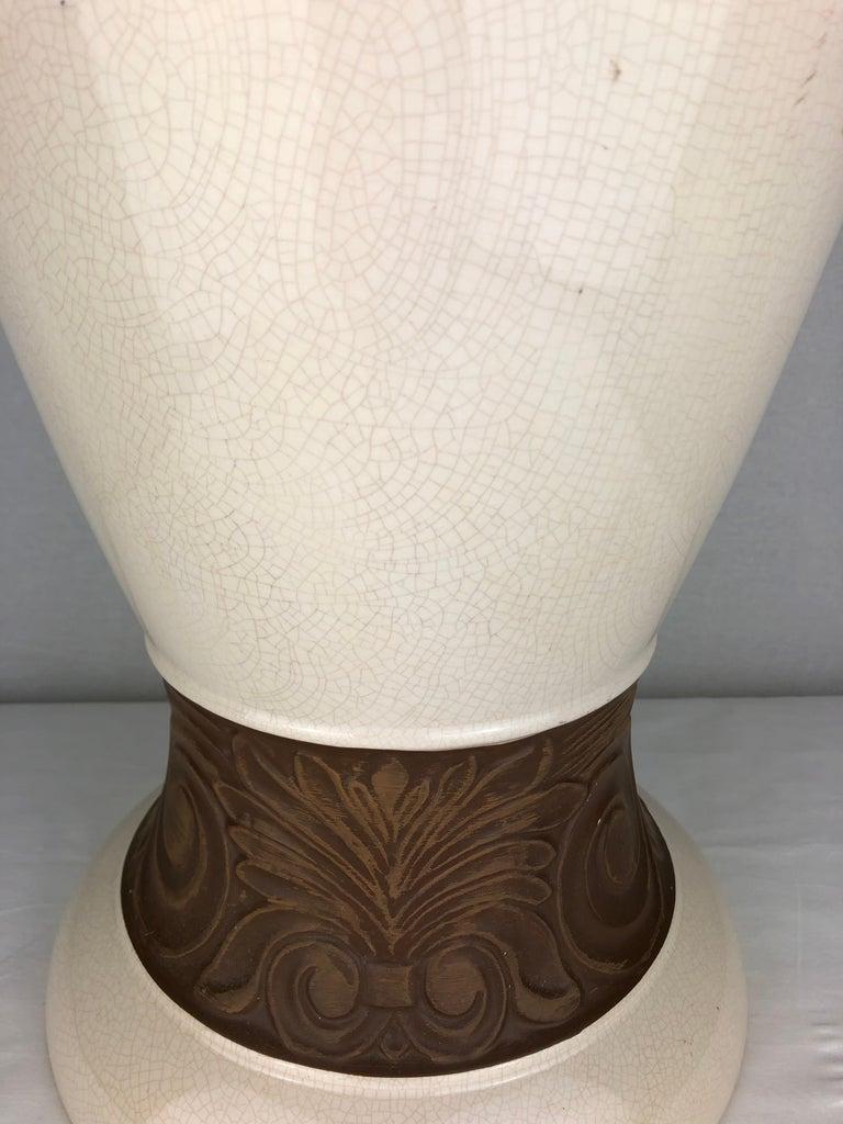 French Large Saint Clement Art Deco Crackle Ceramic Vase, circa 1930s For Sale