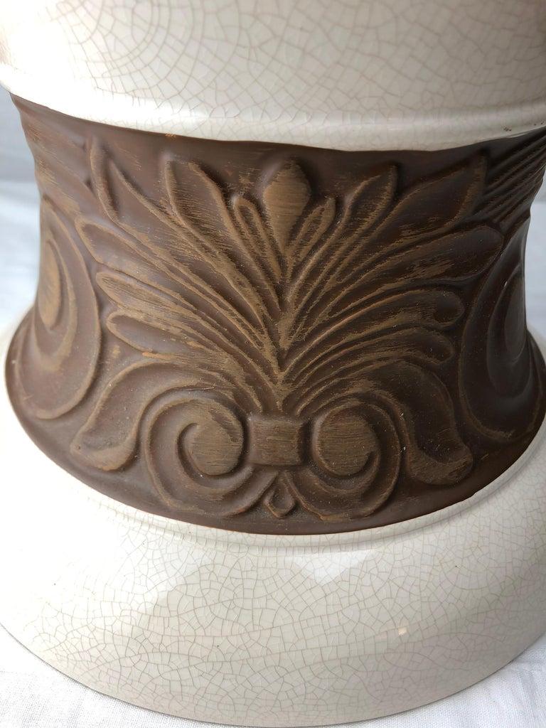 Glazed Large Saint Clement Art Deco Crackle Ceramic Vase, circa 1930s For Sale