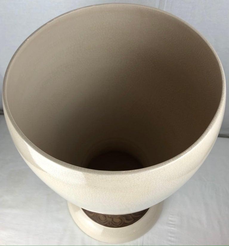 Mid-20th Century Large Saint Clement Art Deco Crackle Ceramic Vase, circa 1930s For Sale