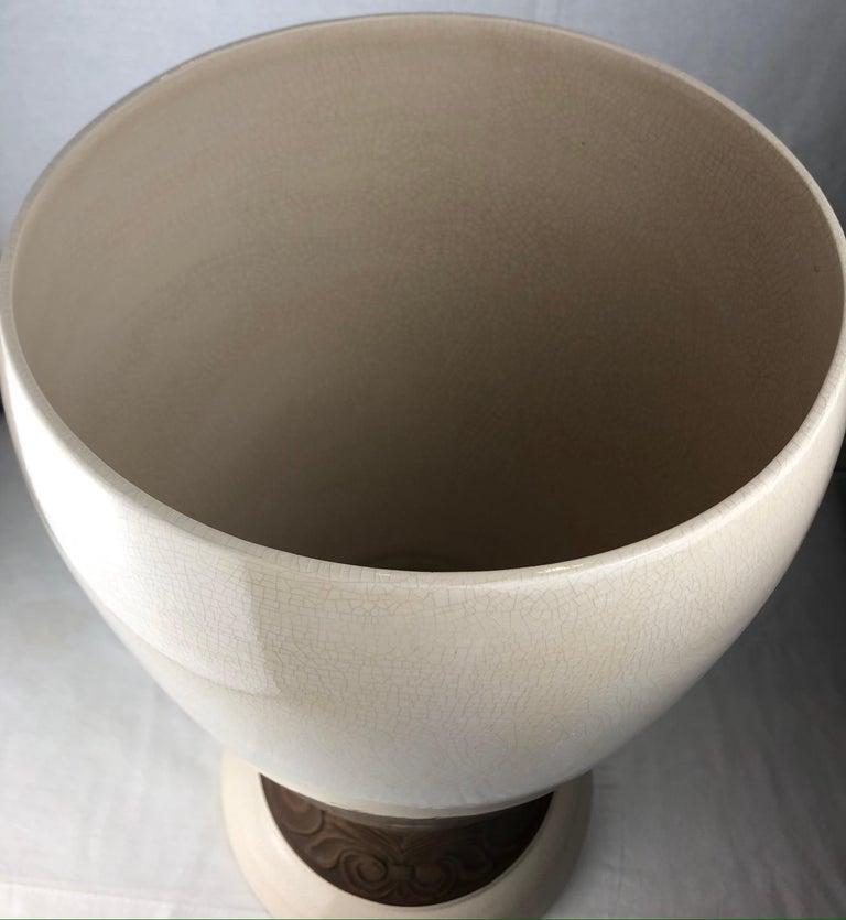 Large Saint Clement Art Deco Crackle Ceramic Vase, circa 1930s For Sale 1