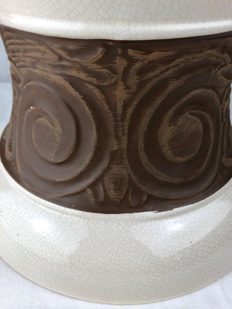 Large Saint Clement Art Deco Crackle Ceramic Vase, circa 1930s For Sale 3