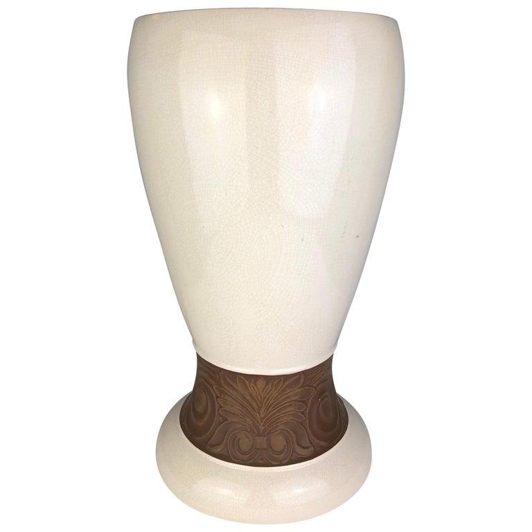 Large Saint Clement Art Deco Crackle Ceramic Vase, circa 1930s For Sale