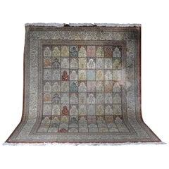 Large Salon Carpet, Silk on Silk, 20th Century
