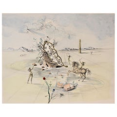 Large Salvador Dali Signed 'Cosmic Horseman' Colored Etching #105/300 with COA