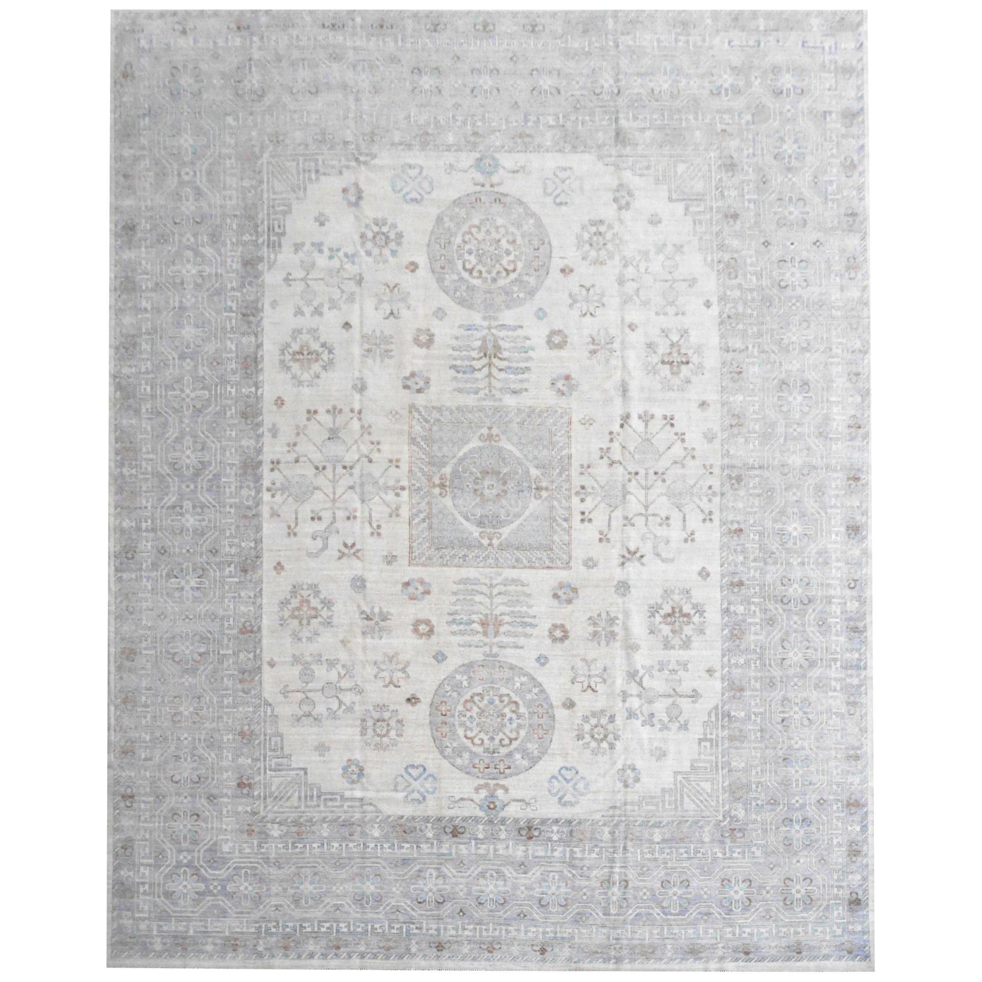 Large Samarkand Khotan Style Rug Hand Knotted Contemporary White Gray Oversized