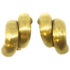 Large San Marco Style Satin Finnish Gold Earrings