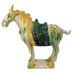 Large SanCai Glazed Pottery Horse Statue Chinese Tang Dynasty Style