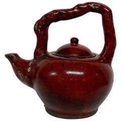Large Sangue De Boeuf Japanese Ornamental Tea Pot