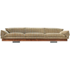 Large Saporiti Sofa in Textured Upholstery