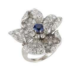 Large Sapphire & Pave Diamond Flower Cocktail Ring