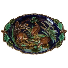 Large Sarreguemines Majolica Partridges Wall Plaque