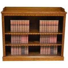 Großes Antikes Viktorianisches Satin Birken Bücherregal