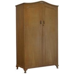 Large Satin Walnut Cabinet Works Double Wardrobe with Minty Internal Cupboards