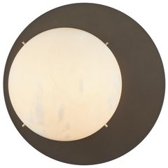 Large 'Saturn' Sconce in Bronzed Steel and Alabaster