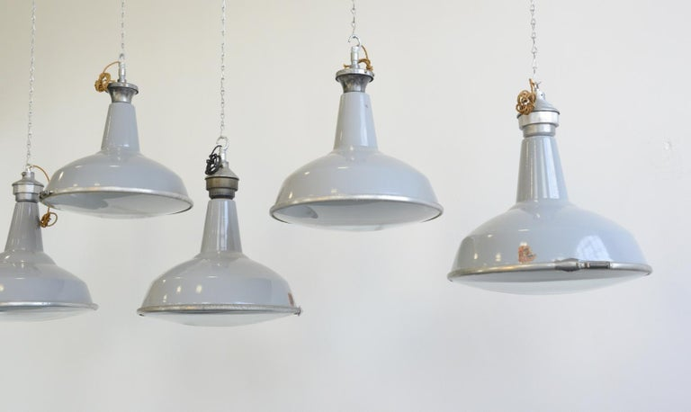 Industrial Large Saw Mill Lights by Benjamin, circa 1950s For Sale