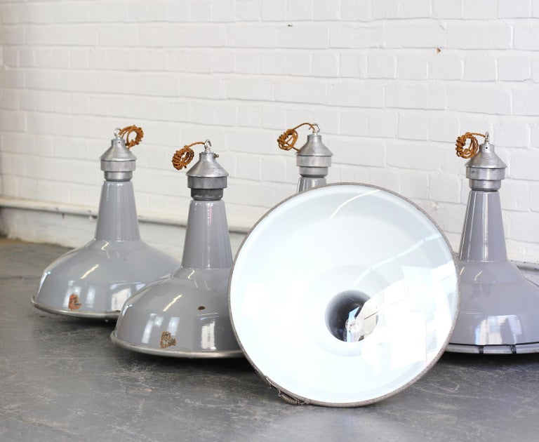 English Large Saw Mill Lights by Benjamin, circa 1950s For Sale