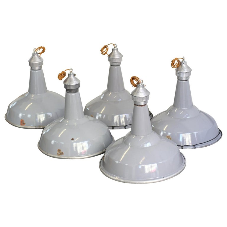 Large Saw Mill Lights by Benjamin, circa 1950s For Sale
