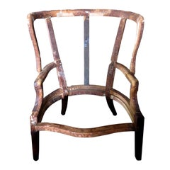 Large Scale 18th-19th Century English Barrel Wingback Chair Frame