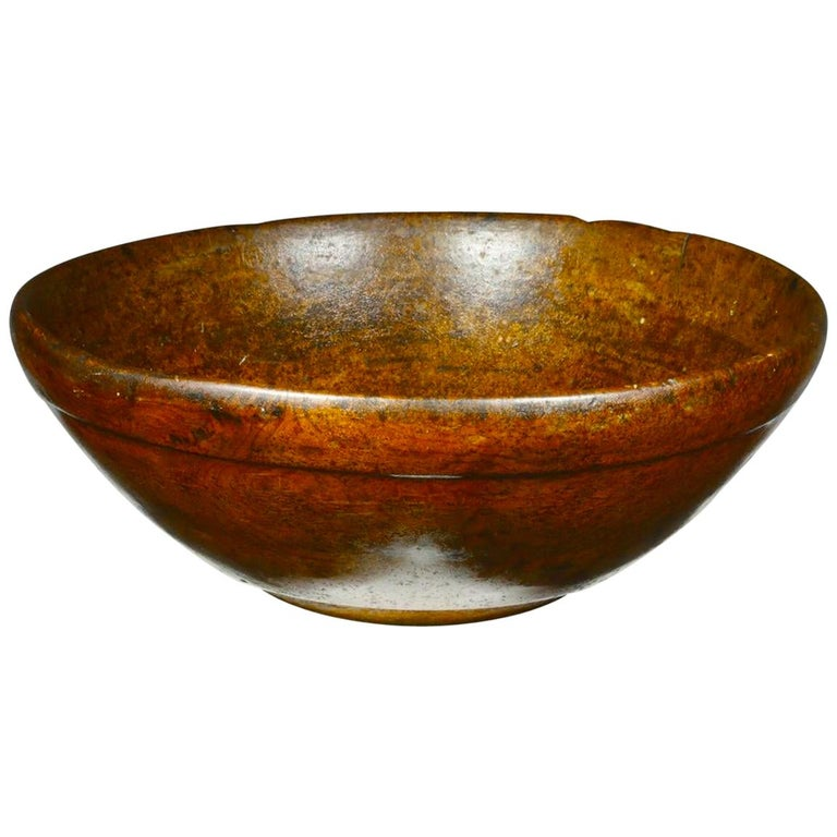 Large Scale 18th Century American Turned Burl Bowl With Great Color For Sale