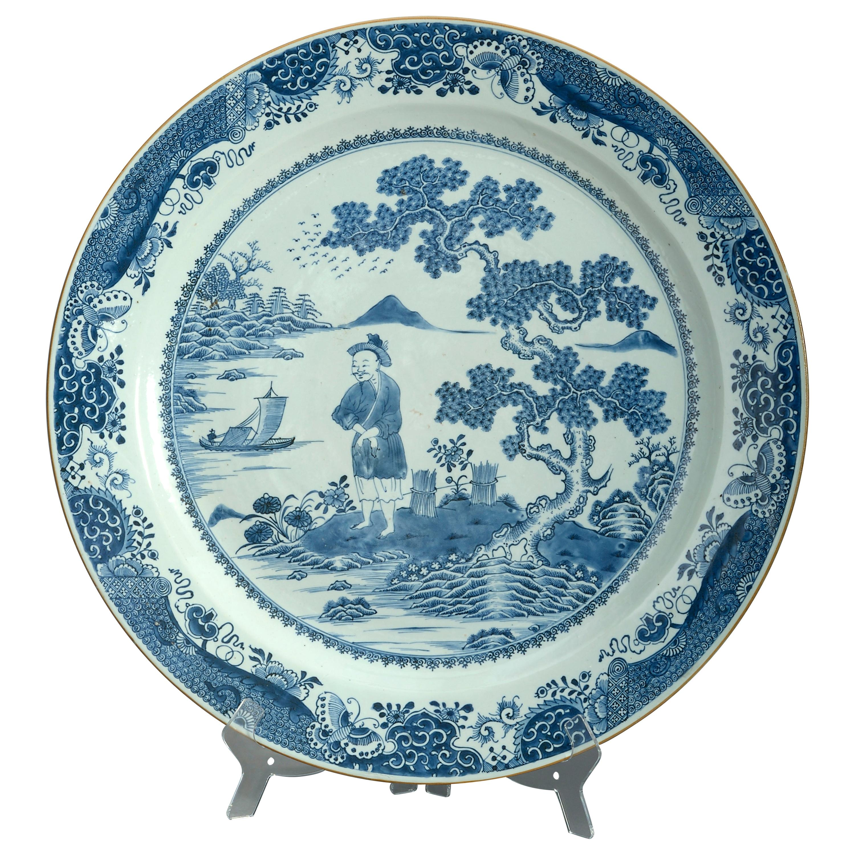 Large Scale 18th Century Chinese Export Blue & White Porcelain Charger