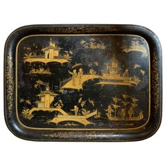 Large Scale 19th Century Chinoiserie Black and Gilt Rectangular Tole Tray