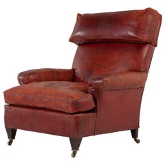 Large Scale 19th Century French Red Leather Armchair