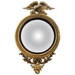"Great 19th Century 50"" English Giltwood Bullseye Mirror With Eagle"