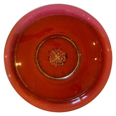 Large Scale 19th Century Ruby Cut-Glass Charger Serving Plate with Gilt Details