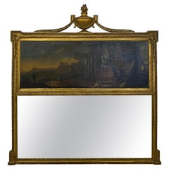 Large Scale 19th Century Trumeau Mirror with Old Mastery Style Painting