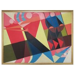 Large Scale Abstract Geometric Painting Signed Glen Douglas, Dated 1983