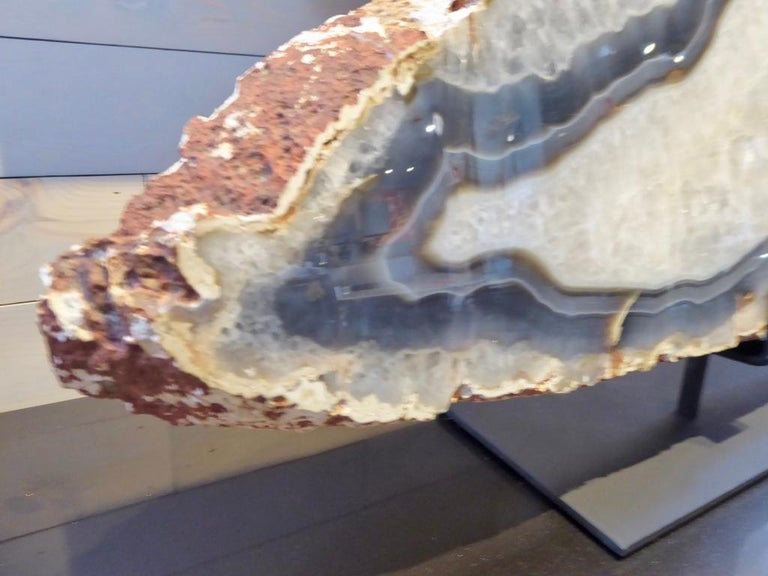 Large Scale Agate Specimen on Custom Iron Stand In New Condition For Sale In Palm Springs, CA
