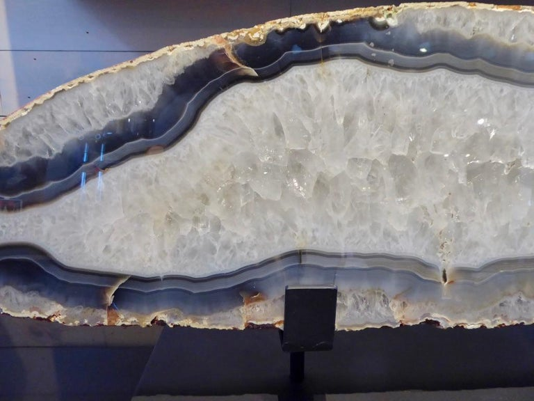 Contemporary Large Scale Agate Specimen on Custom Iron Stand For Sale