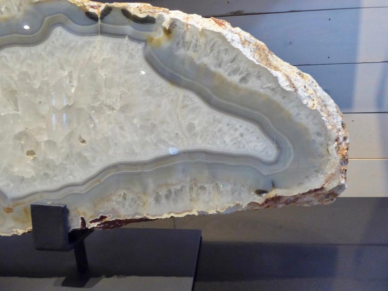 Large Scale Agate Specimen on Custom Iron Stand For Sale 2