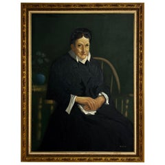 Large Scale American Classical Portrait Painting of Woman with Giltwood Frame