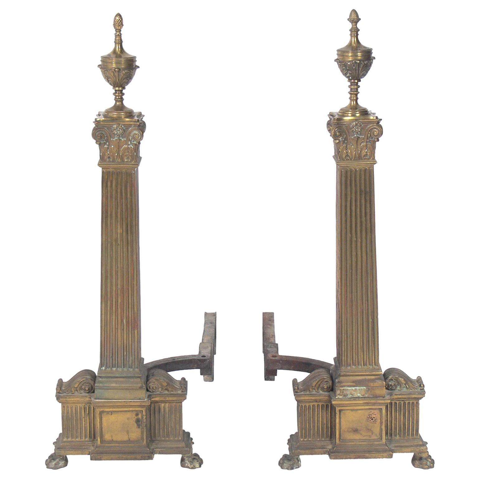 Large Scale Andirons by Dorothy Draper for The Greenbrier Hotel