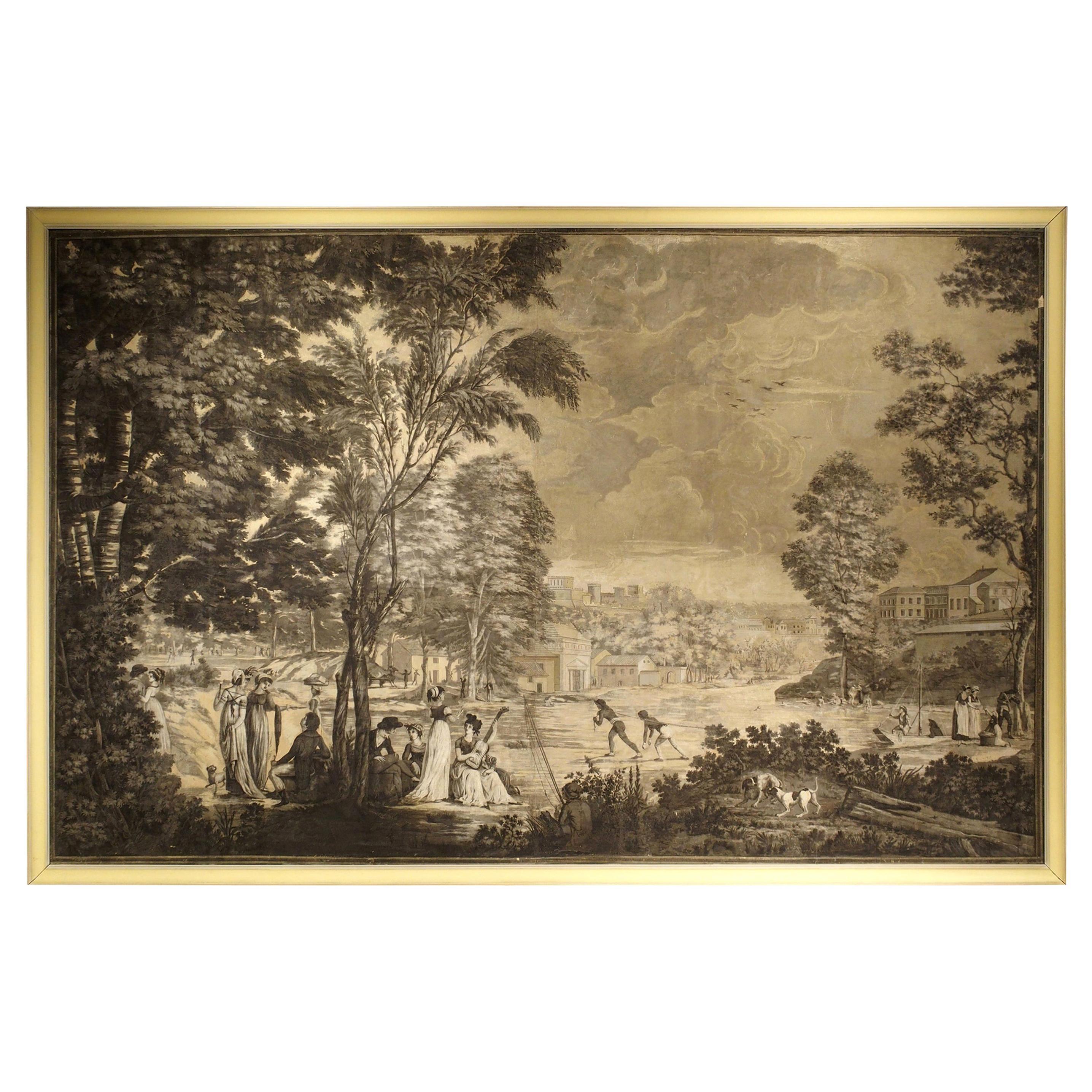 Large Scale Antique Panoramic Park Scene by Joseph Dufour, circa 1805