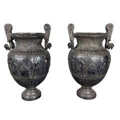 Large Scale, Antique, Silvered, Relief Urns