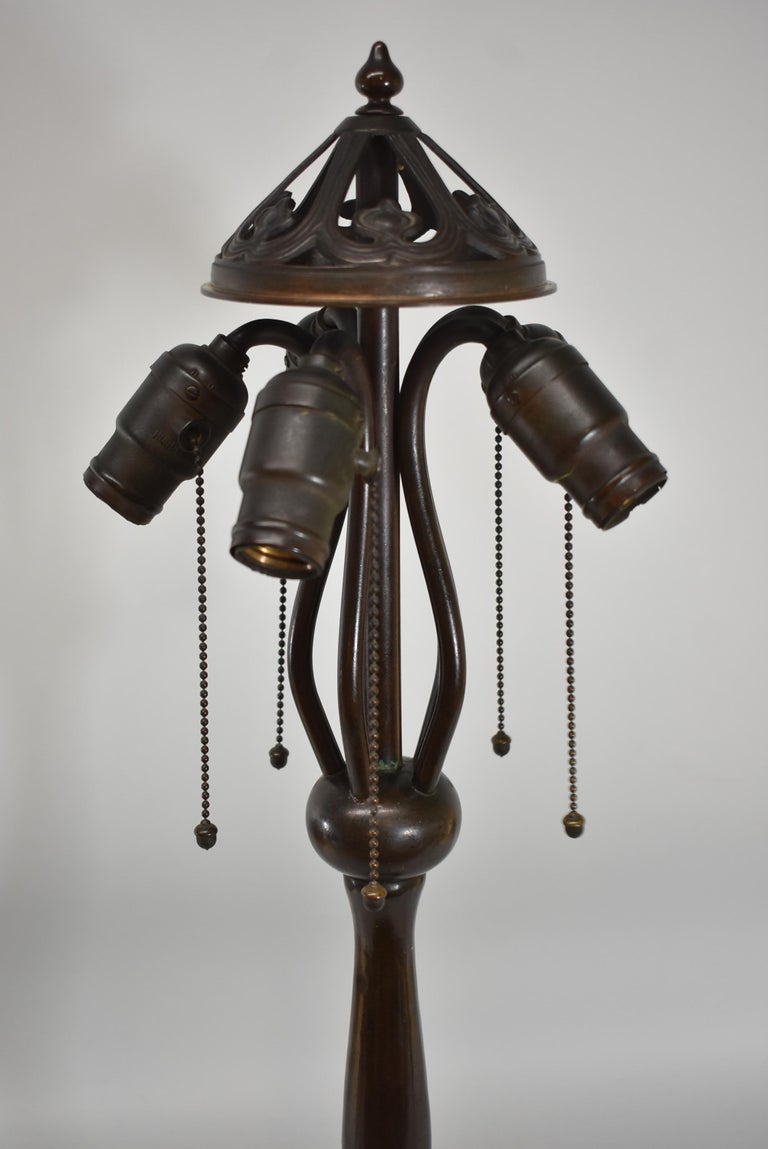 Large Scale Arts And Crafts Handel Leaded Glass Lamp With Shade For Sale At 1stdibs