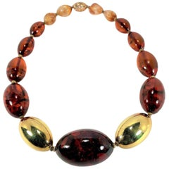 Large Scale Baltic Amber and Gold Bead Necklace
