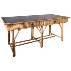 Large Scale Bamboo Desk with Black Leather Top