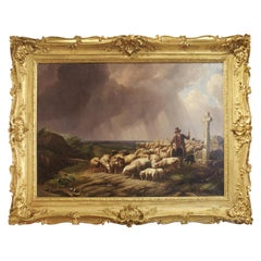Large Scale Belgian Landscape Painting in Giltwood Frame, Signed and Dated, 1847
