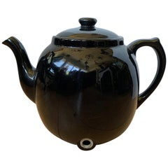 Large Scale Black Hall China Teapot, Marked, circa 1930-1970
