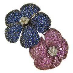 Large Scale Blue and Pink Sapphire Double Flower Brooch with Diamond Centers