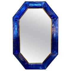 Large Scale Blue Murano Glass and Brass Mirror