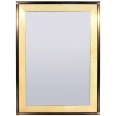 Large Scale Brushed Bronze and Lacquered Goatskin Mirror