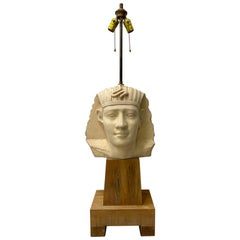Large Scale Carved and Molded Clay Egyptian Pharoah Head Table Lamp, circa 1970