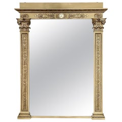 Large Scale Carved and Parcel-Gilt Floor Mirror