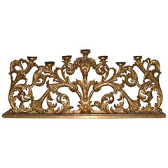 Large Scale 19th Century Carved and Gilded French Mantel Candle Holder