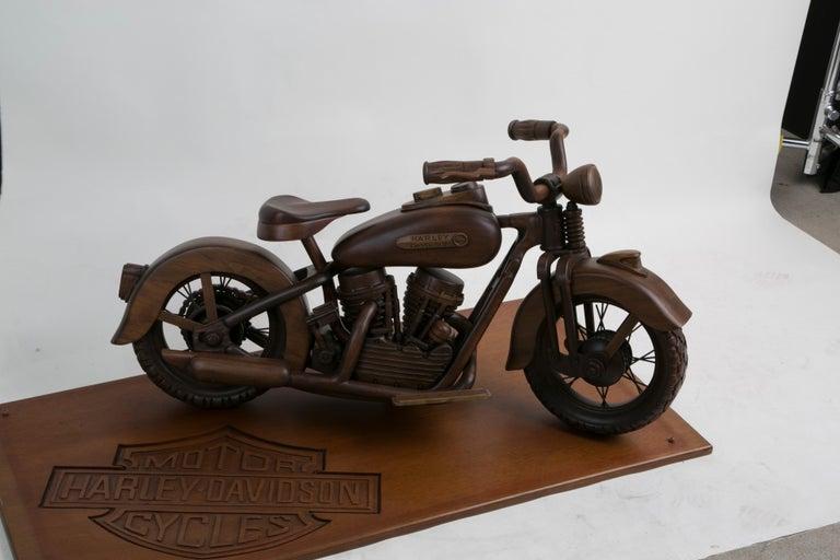Large-Scale Carved Wood 1948 EL Panhead Harley Davidson with Display Case For Sale 5