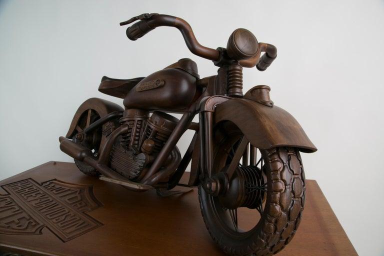 Large-Scale Carved Wood 1948 EL Panhead Harley Davidson with Display Case For Sale 7